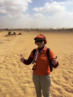 "Žurnāla ""Medības"" galvenā redaktore Linda Dombrovska tuksneša sportinga sacensībās Nad Al Sheba"