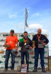 Kombinētās medību šaušanas uzvarētāji individuālajā kopvērtējumā - Nauris Matvijuks, Einārs Lapiņš, Mārtiņš Turkopulis